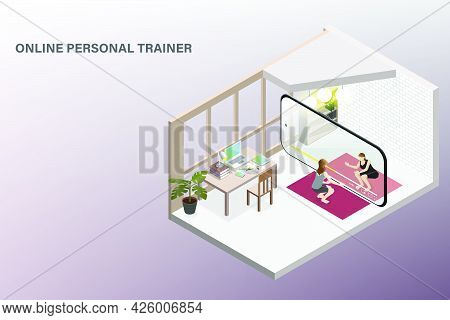 Cardio Or Weight Training Concept Using Live Smartphone App As Online Personal Trainer Presented By