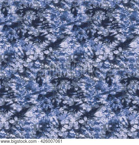 Vector Blue Grey Allover Batik Seamless Pattern