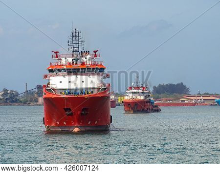Labuan Ft,malaysia-feb 26,2020:offshore Supply Vessels At Labuan Ft,malaysia. Its Specifically Serve
