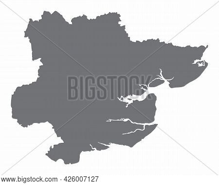 The Essex County Silhouette Map Isolated On White Background, England