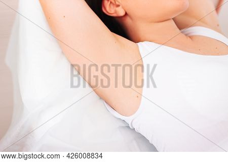 Epilation Of The Armpits A Woman Shows Her Armpits. Body Care Beauty Women Relaxing Display Of Armpi