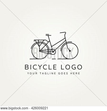 Bicycle Minimalist Line Art Icon Logo Template Vector Illustration Design. Simple Modern Bike, Cycle