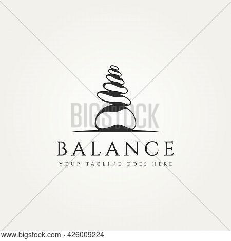 Stone Balance Minimalist Classic Logo Template Vector Illustration Design. Simple Modern Spa, Wellne