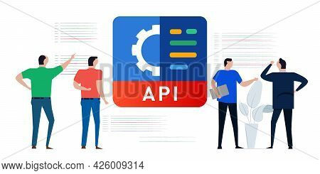 Api Application Programming Interface Concept Of Coding Service Online Gear Engine Of Code