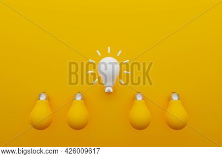 Light Bulb White Colour Outstanding Among Lightbulb Yellow. Concept Creative Idea And Innovation, Un