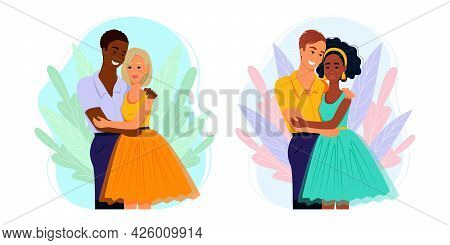 Multiracial Couple In Love, Family Of Different Nationalities, Vector Illustration In Flat Style. Ca