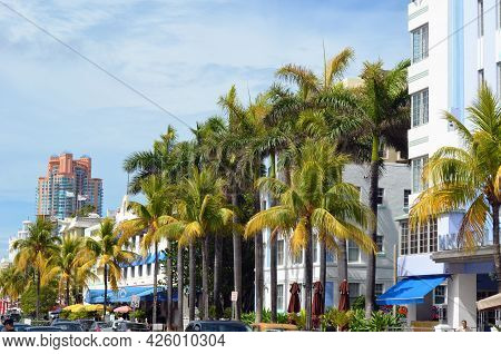 Miami Beach,florida,u.s.a. 1 June 2013, View Of Ocean Drive In The South Beach Section Of Miami Beac