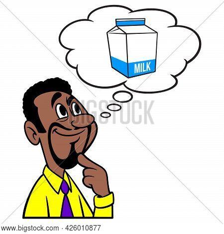 Man Thinking About A Milk Carton - A Cartoon Illustration Of A Man Thinking About Milk Carton.