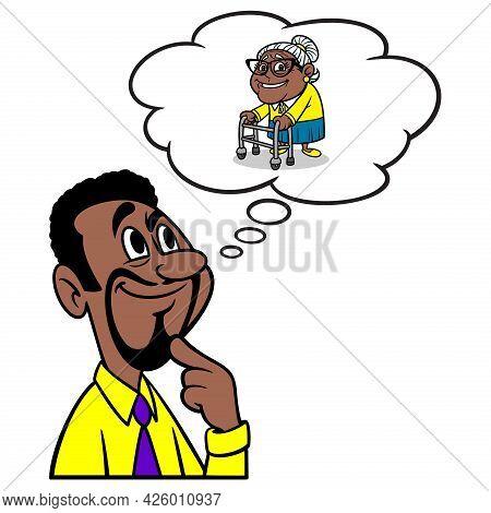 Man Thinking About Grandma - A Cartoon Illustration Of A Man Thinking About Grandma.