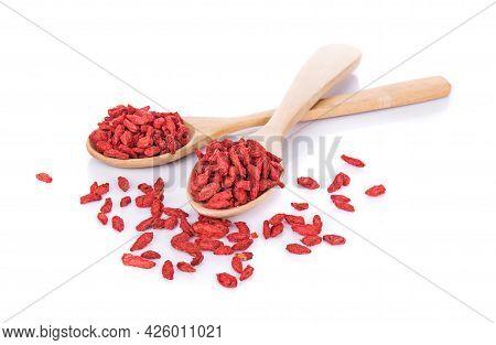Goji Berries,goji Berries In Woodenspoon Isolated On White Background