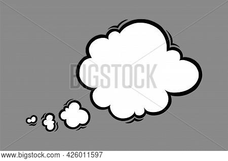 Cloud Speech Bubble In Comic Style. Speech Bubble For Thoughts And Shouts Isolated In Grey Backgroun