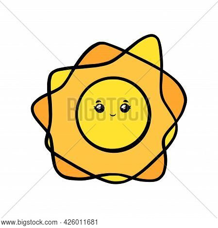 Cute Sun With Eyes And Smile. Kawaii Sun Smiling Face In Doodle Style. Black And White Vector Illust