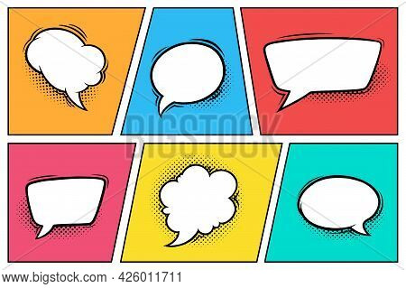 Comic Speech Bubbles With Halftone Shadows. Set Of Speech Boxes Isolated In Colorful Background. Han