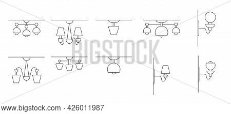 Set Of Vector Icons For Wall Sconces, Wall And Ceiling Lamps. Stock Illustration, Isolated On A Whit