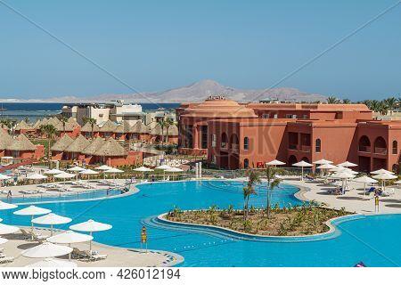 Sharm El Sheikh, Egypt - June 2, 2021: Territory Of The Hotel Albatros Laguna Vista Resort In Sharm