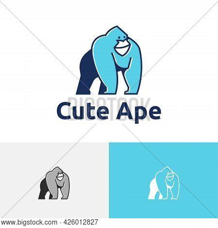 Cute Ape Smiling Gorilla Monkey Mascot Wildlife Logo