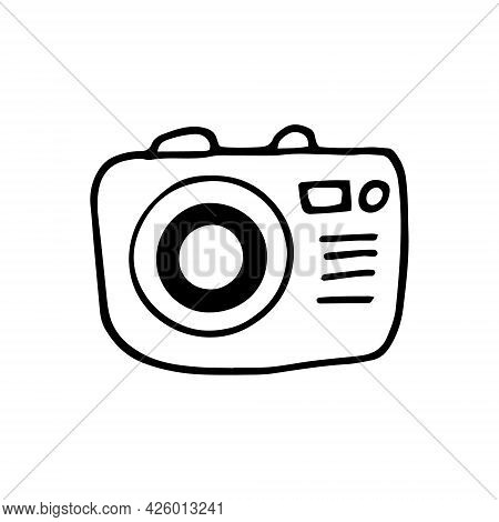 Photo Camera Icon. Hand Drawn Doodle. Vector, Scandinavian, Nordic, Minimalism, Monochrome. Travel,
