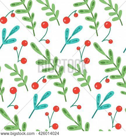 Simple Natural Fabric With Branches With Foliage And Berries On A White Background. Vector Seamless