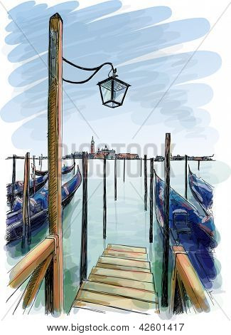 Venice. Quay Piazza San Marco. Gondolas on the water. Bitmap copy my vector