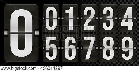 Set Of Number On Scoreboard Of Day, Hour, Minute And Second. Mechanical Time Remaining Count Down Fl