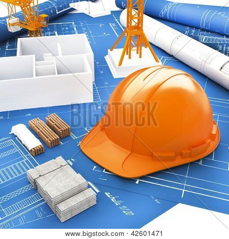 Orange Helmet for Builder and Blueprints