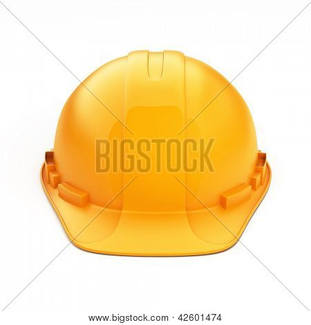 Isolated Orange Helmet for Builder on White Background