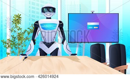 Robot At Workplace Robotic Businessperson Working In Office Artificial Intelligence Technology Conce