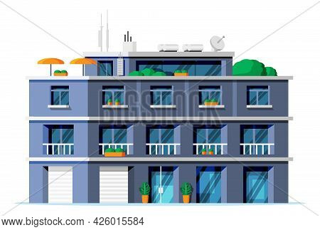 Modern Apartment Building Isolated. Exterior Or Facade Of Small City Apartment. Urban Fashioned Resi