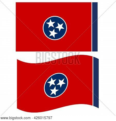 Tennessee Flag On White Background. Tennessee State Flag Of America. Flat Style.