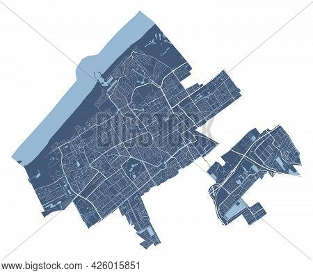 Hague Map. Detailed Vector Map Of Hague City Administrative Area. Cityscape Poster Metropolitan Aria