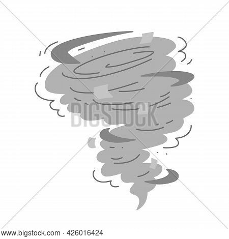 Flat Hurricane Icon. Vector Twisted Symbol Of Tornado Isolated On A White Background. Vortex Gray Ca