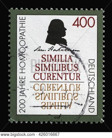 ZAGREB, CROATIA - AUGUST 29, 2014: A stamp printed in Germany shows Samuel Hahnemann, German Physician known for Creating a System of Alternative Medicine Called Homeopathy, Bicentenary, circa 1996