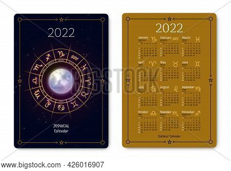 Zodiacal Calendar Of Pocket Size Black Golden Colors. 2022 Year Double Sided Vertical Calendar With