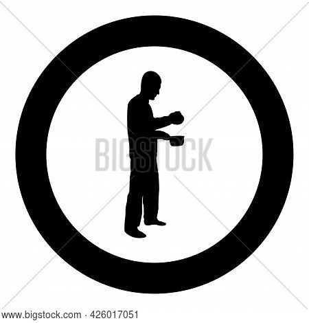 Man With Saucepan In His Hands Preparing Food Male Cooking Use Sauciers With Open Lid Silhouette In