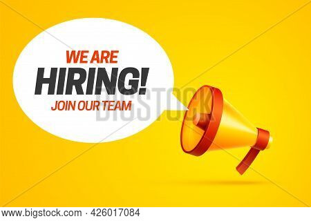 We Are Hiring Vacancy Concept Poster Template. Outsource Team Hire Creative Employee. Career Promoti