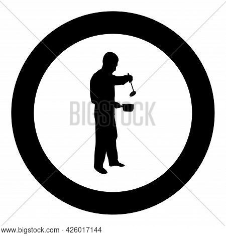 Man With Saucepan Scoop Ladle Kitchen Utensil Crack For Soup In His Hands Preparing Food Male Cookin