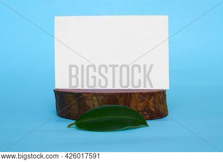 A White Cardboard Card With A Place For Text And A Green Ficus Leaf On A Wooden Stand. Blue Backgrou