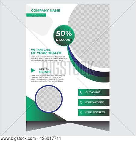 Blue And Green Promotional Creative Medical Flyer Design Template