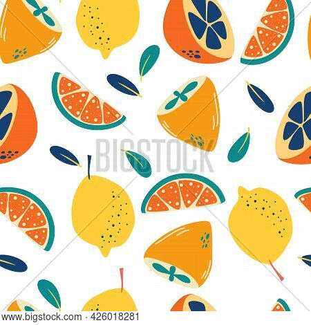 Seamless Pattern With Lemons. Abstract Citrus Background. Fresh Slices And Whole Lemons Backdrop. Su