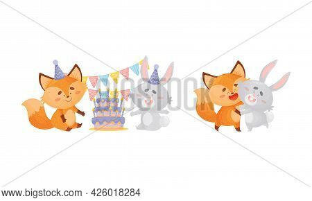 Humanized Fox And Hare Engaged In Different Activity Celebrating Birthday And Dancing Vector Set