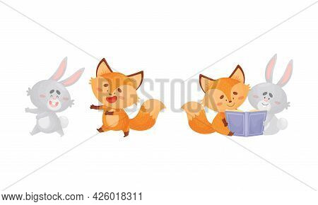 Humanized Fox And Hare Engaged In Different Activity Reading Book And Running Vector Set