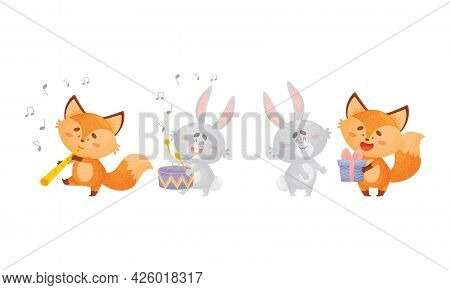Humanized Fox And Hare Engaged In Different Activity Playing Musical Instrument And Giving Gift Box