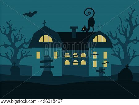 Halloween Background With Gloomy House, Trees, Black Cat Gravestones And Bats Against A Full Moon Ba