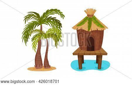 Hawaiian Beach Attributes And Tropical Symbols With Palm Tree And Hut Vector Set