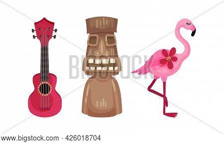 Hawaiian Beach Attributes And Tropical Symbols With Ukulele And Flamingo Bird Vector Set