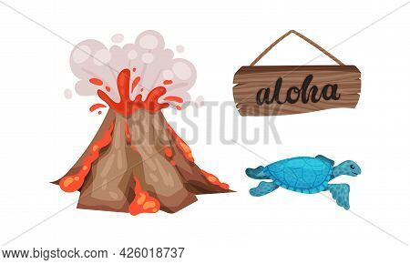 Hawaiian Beach Attributes And Tropical Symbols With Volcano Eruption And Blue Turtle Vector Set