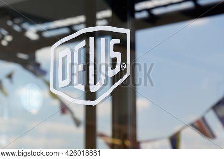 Montpellier , Ocitanie France  - 06 30 2021 : Deus Ex Machina Logo Text And Brand Sign Store Of Fash
