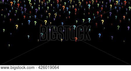 Question Marks Scattered On Black Background. Quiz, Doubt, Poll, Survey, Faq, Interrogation, Query B