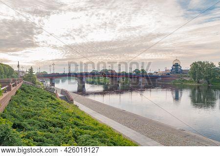 Gorzow Wielkopolski, Poland - June 1, 2021: Beautiful Sunrise View On Staromiejski Bridge Over Warta