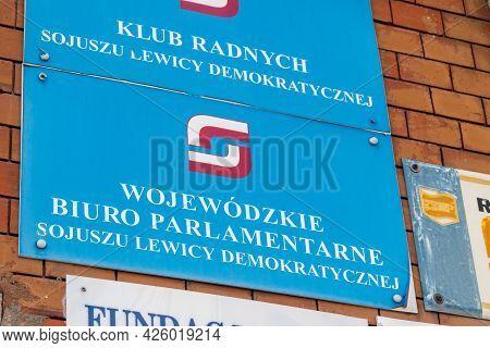 Swiebodzin, Poland - June 1, 2021: Provincial Parliamentary Office Of Democratic Left Alliance (poli